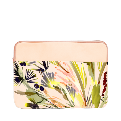 Lush Laptop Sleeve is a cute laptop case in abstract tropical floral and peach in 13 inch size.