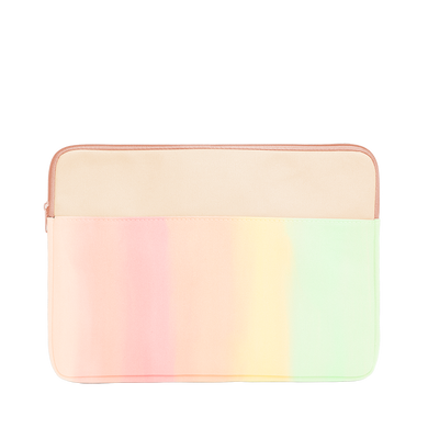 Daybreak Laptop Sleeve is a cute laptop case in pastel rainbow gradient with peach trim in 13 inch size.