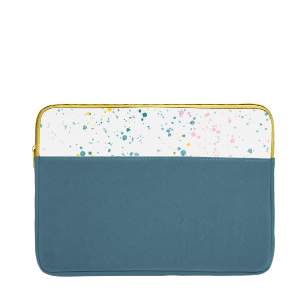 Spruce green laptop sleeve with white paint splatter trim, a gold zipper, and 13 inch size.