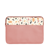 Terrazzo Laptop Sleeve is a red vegan leather with cream terrazzo detail in 13 inch size.