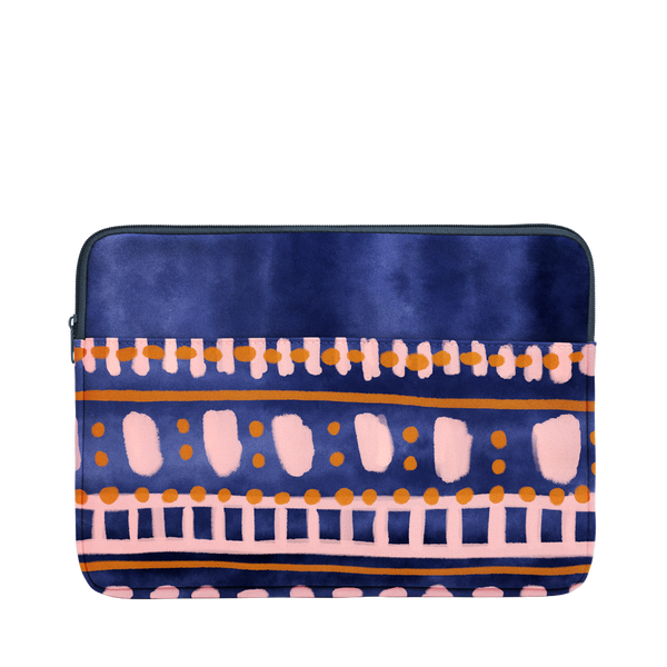 Boho Dress Laptop Sleeve is a cute laptop case in patterned navy and 13 inch size.