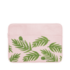 Buds Laptop Sleeve is a blush pink laptop sleeve with green leaf pattern in 13 inch size.