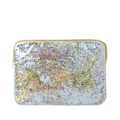 Clear vinyl laptop sleeve with light blue canvas lining and rainbow glitter confetti with gold zippers in 13 inch.