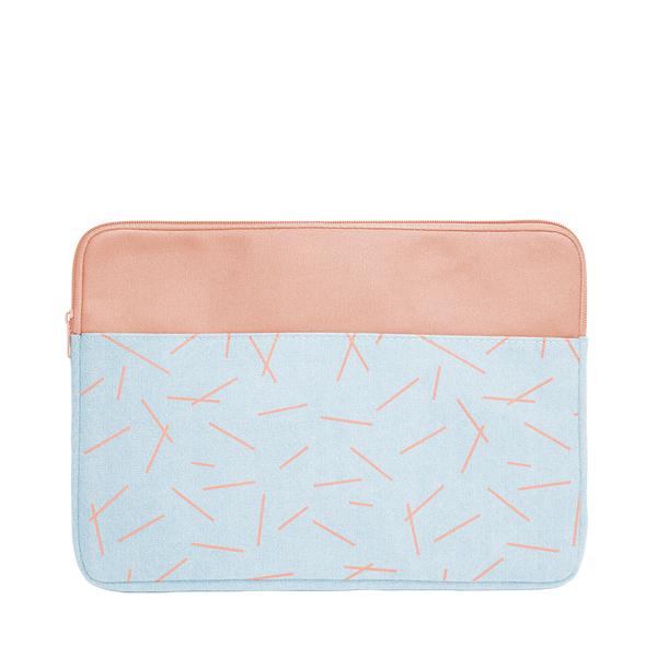 Pixie Sticks Canvas Laptop Sleeve is a cute laptop sleeve in light denim with peach pixie sticks pattern in 13 inch size.