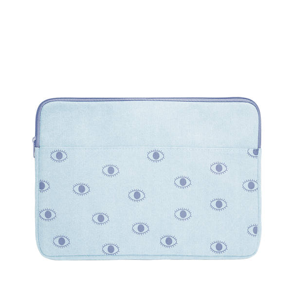 Eyeballs Canvas Laptop Sleeve is a cute laptop sleeve in light denim with eyeballs pattern in 13 inch size.