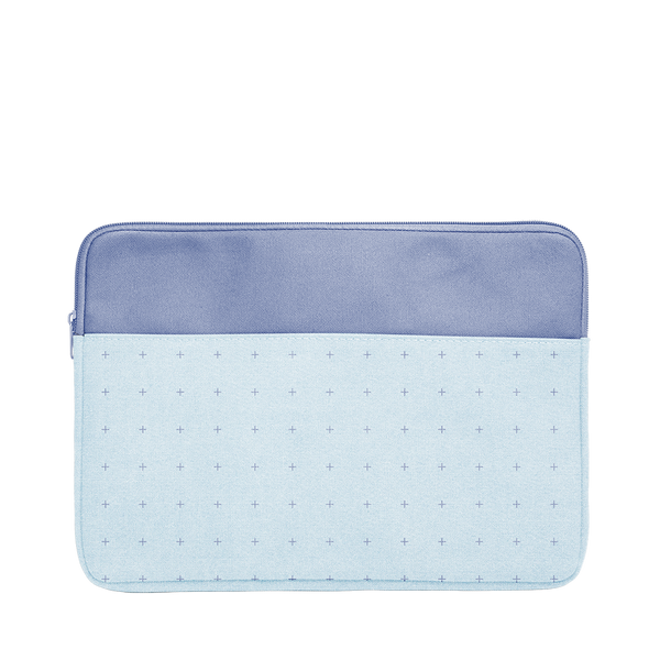 Plus 1 Canvas Laptop Sleeve is a cute laptop sleeve in light denim with blue plus pattern in 13 inch size.