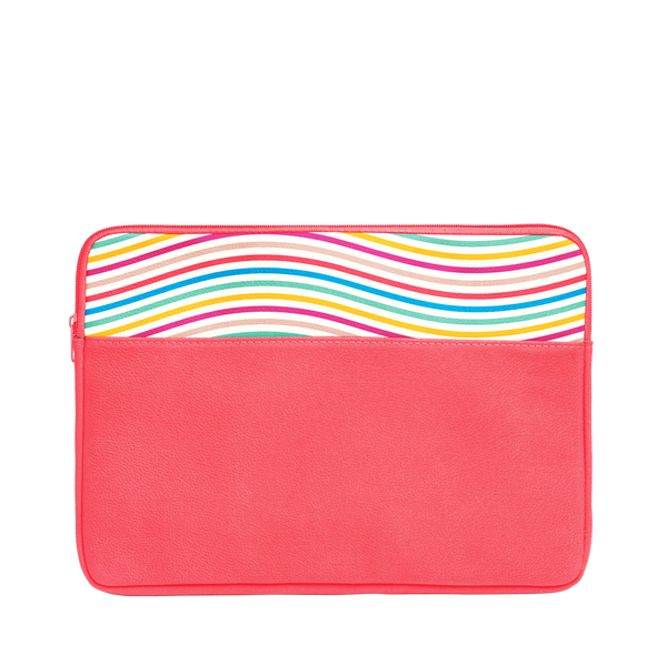 The Limbo Laptop Sleeve is a cute laptop case in coral with rainbow wavy lines pattern and 13 inch size.