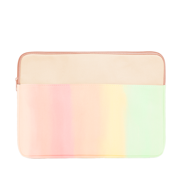 Daybreak Laptop Sleeve is a cute laptop case in pastel rainbow gradient with peach trim in 15 inch size.