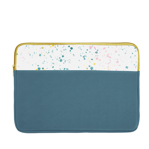 Spruce green laptop sleeve with white paint splatter trim, a gold zipper, and 15 inch size.