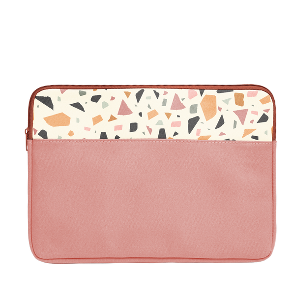 Terrazzo Laptop Sleeve is a red vegan leather with cream terrazzo detail in 15 inch size.