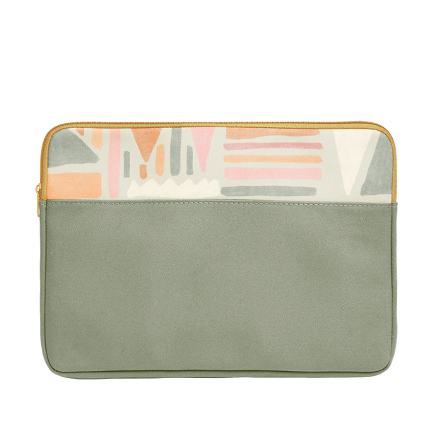Fruit Basket Laptop Sleeve is a green vegan leather with geometric fruit pattern in 15 inch size.
