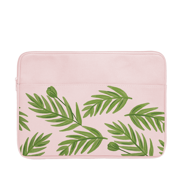 Buds Laptop Sleeve is a blush pink laptop sleeve with green leaf pattern in 15 inch size.
