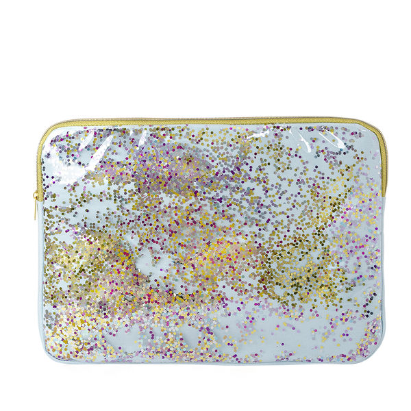 Clear vinyl laptop sleeve with light blue canvas lining and rainbow glitter confetti with gold zippers in 15 inch.