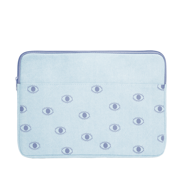 Eyeballs Canvas Laptop Sleeve is a cute laptop sleeve in light denim with eyeballs pattern in 15 inch size.