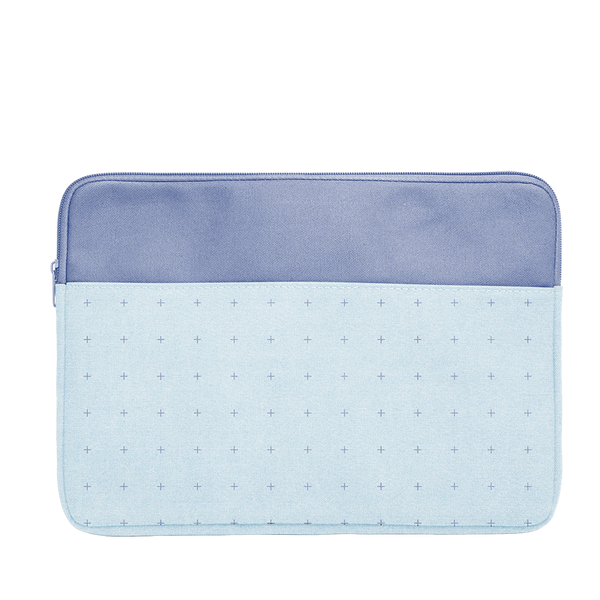 Plus 1 Canvas Laptop Sleeve is a cute laptop sleeve in light denim with blue plus pattern in 15 inch size.