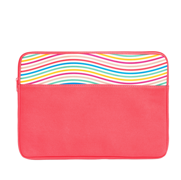 The Limbo Laptop Sleeve is a cute laptop case in coral with rainbow wavy lines pattern and 15 inch size.