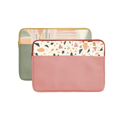 Mutey Fruity Collection Laptop Sleeves come in green with Fruit Basket pattern and red with terrazzo pattern.