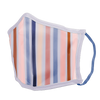 A lightly striped facemask with pink, purple, navy, tan and light pink.
