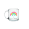 a cute glass mug with a rainbow that says fuck mornings