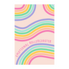 "A pink poster with rainbow paths twisting back and forth, with ""emotional rollercoaster"" scripted in pink."