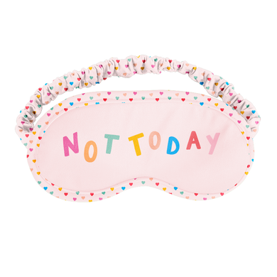 a pink sleep mask with different colored tiny hearts that says not today