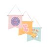 grouping of three cute hanging wall style pennants with different sayings