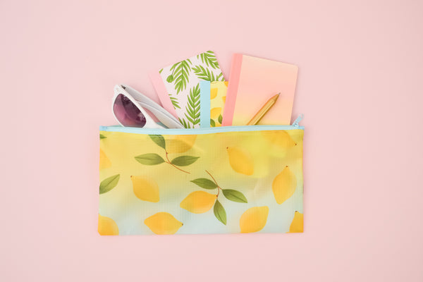 a lemons ripstop pouch with the garden party mini notebooks inside and white sunglasses