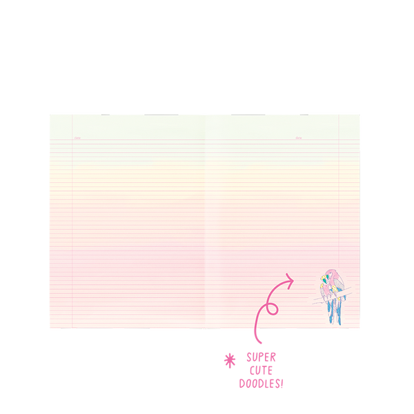 Ombre paper with pink lines and two parrots in the lower right hand corner of the page.