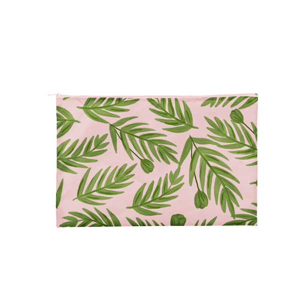 Large pink pouch with green leaves