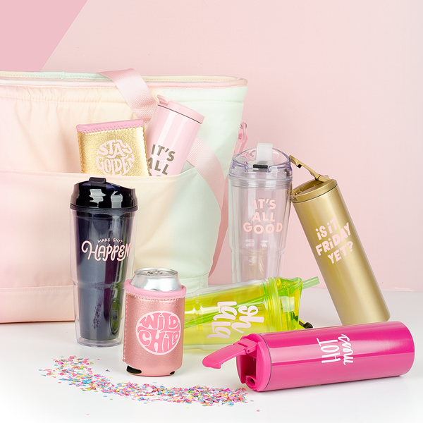 a soft sided pastel gradient cooler bag with several different beverage items