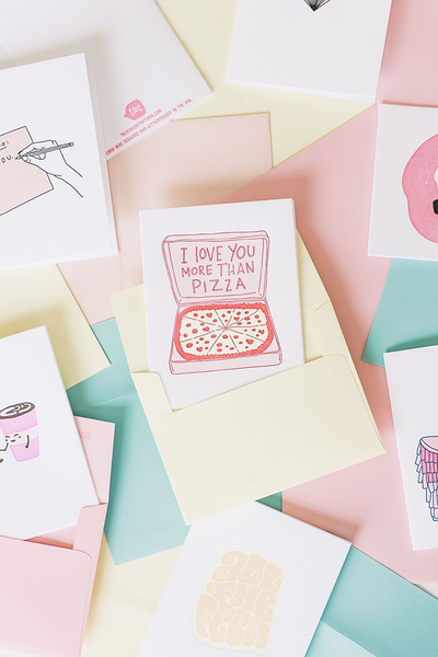Pile of cute greeting cards, baby cards, and love cards.