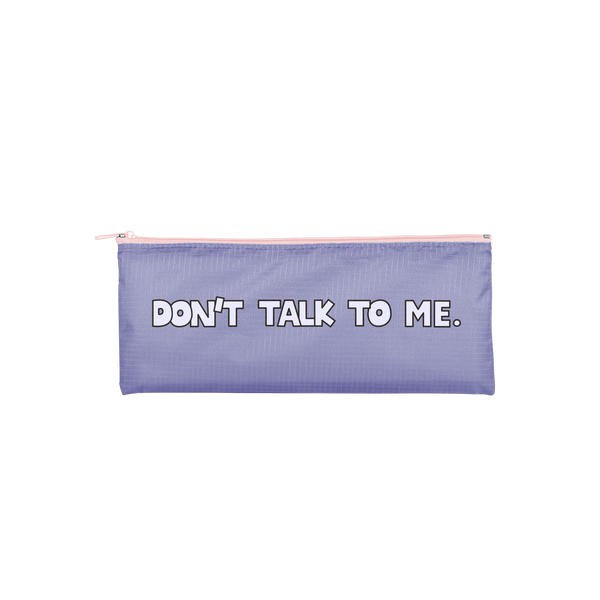 periwinkle pouch that says don't talk to me