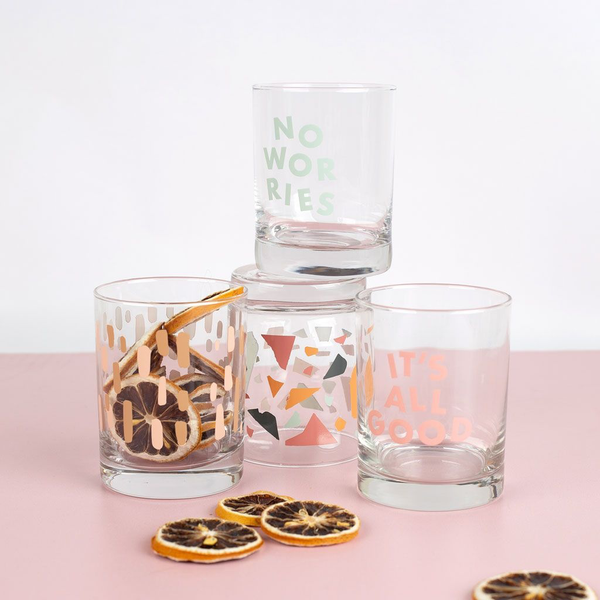 Set of 4 clear printed glasses stacked