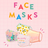 A pink grid background with four patterned face masks