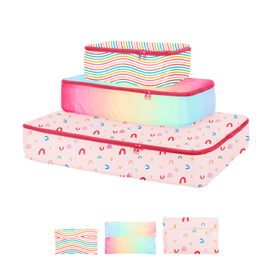 small, medium, and large packing cube set. One with rainbows, one colorful meltdown, and one with rainbow stripes