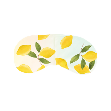 a weighted eye mask with yellow lemons