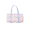 a duffel bag with periwinkle straps and magic sprigs print