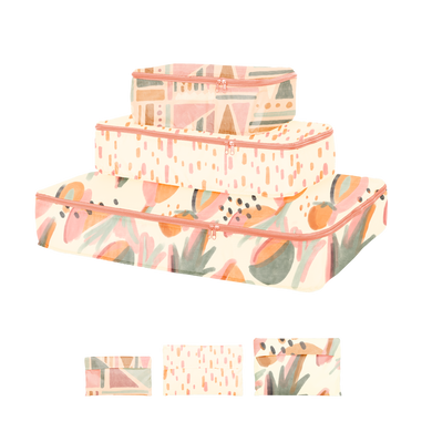 small, medium, and large packing cube set. One with mutey fruity, one with sundrops, and one with fruit basket
