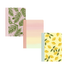 Three mininotebooks one with green leaves, yellow lemons, and pastel gradient