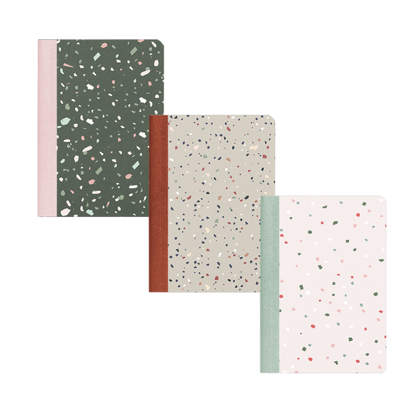 Three mininotebooks with different color terrazzo