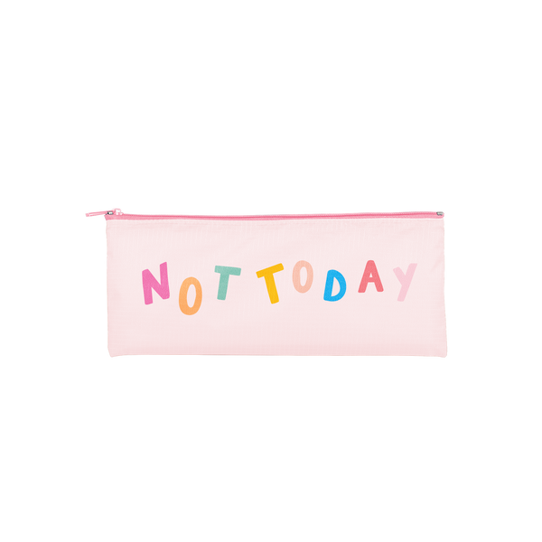 pink pouch that says not today