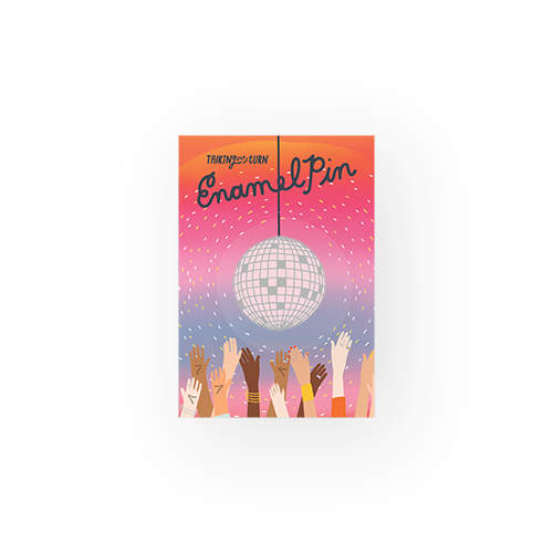 Pink disco ball enamel pin