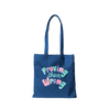 Navy canvas tote bag that says Proving Them Wrong in colorful lettering.
