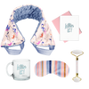 flat image of a collection of self care items including a neck wrap in a small floral print, a clear glass mug that says killing it, a weighted eye mask with blue striped imprint, a greeting card killing it, and a quartz roller with roll with it imprinted in  coral.