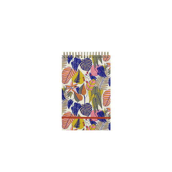 A botanical leaf pattern in blue, yellow, pink, and orange with a orange elastic band.