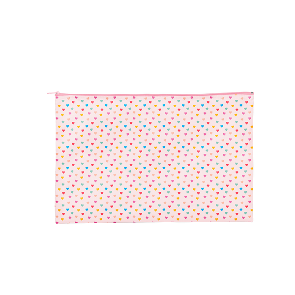 a pink pouch with tiny hearts on it