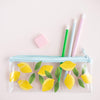 Lemons Pencil Kit includes a clear pencil pouch, three pencils, and an eraser.