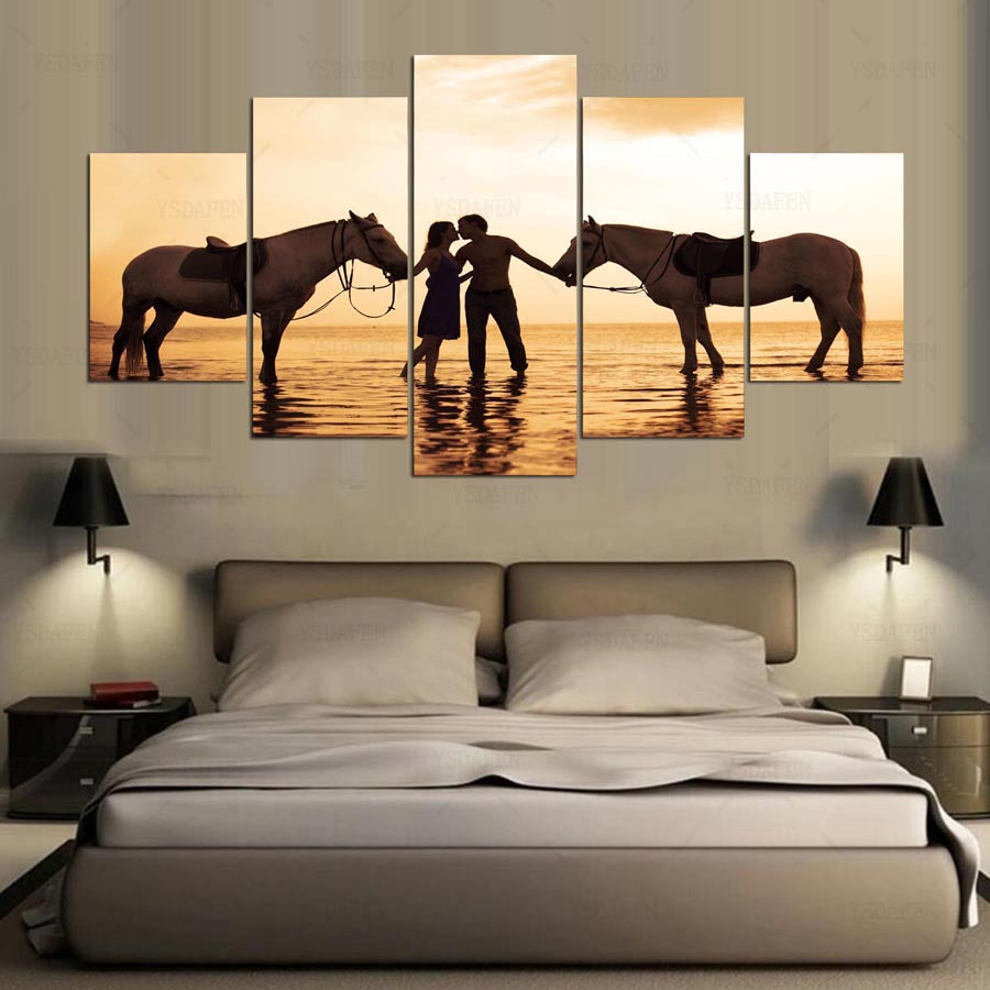 5 Pieces Picture Panels Canvas Prints Painting Horse Couple Wall Art Home Decor