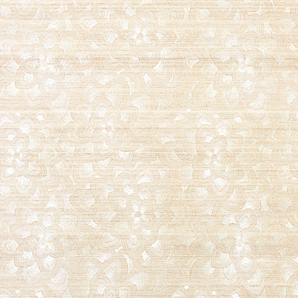 Schumacher Wallpaper 5011210 Lotus Embroidery Sisal Ivory