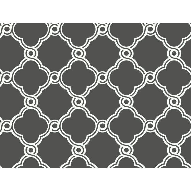 York AP7490 Black & White Open Trellis Wallpaper